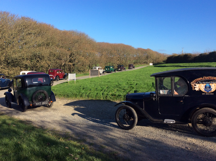 Cars heading off after some lovely refreshments at the rectory tearooms