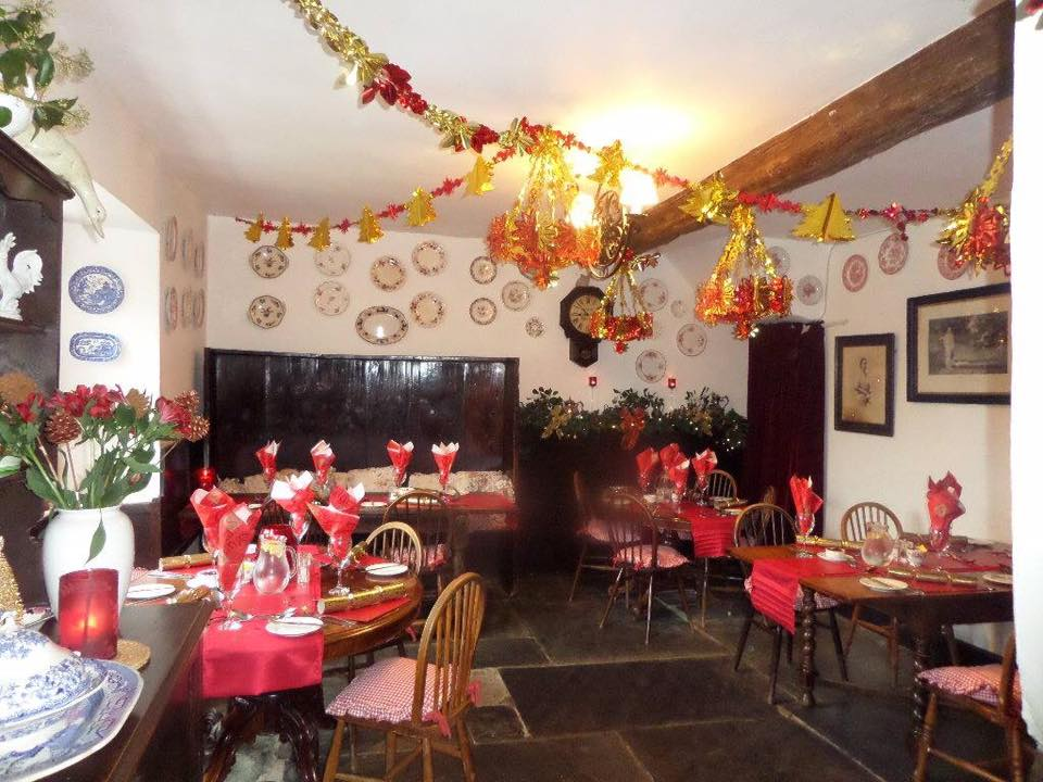 The Tearoom's Tables Decorated for Christmas.