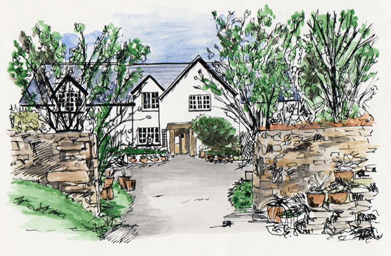 A Painting of Our Tearooms - Click Here for The Tearooms Page.